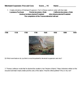 Manifest Destiny Westward Expansion Pros and Cons Webquest Activity