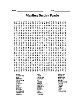 Manifest Destiny: Word Search