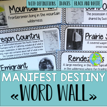 Manifest Destiny Word Wall - Black and White