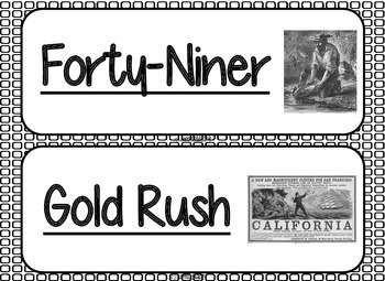 Manifest Destiny Word Wall without definitions - Black and White