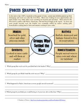 Manifest Destiny and American Expansion Worksheet