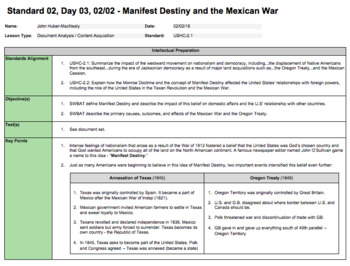 Manifest Destiny and the Mexican-American War (LP + Docs + PPT)
