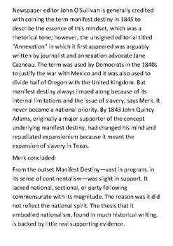 Manifest destiny Handout