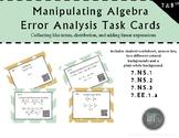 Manipulating Algebra Error Analysis Task Cards