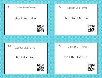 Manipulating Algebra Task Cards