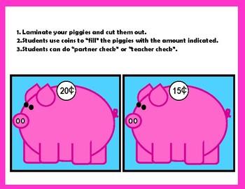 Manipulating Coins Piggy Bank Activity