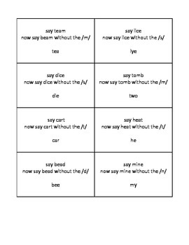 Manipulating Phonemes Practice Cards; Deleting Initial and Final Sounds