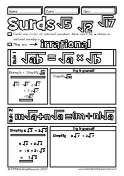 Manipulating Radicals and Rationalising the Denominator Math Doodle Notes