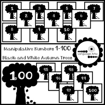 Manipulative Numbers 1-100 Black and White Autumn Trees