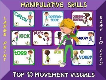 Manipulative Skills- Top 10 Movement Visuals- Simple Large Print Design