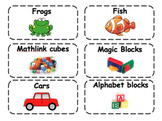 Manipulative labels with pictures (EDITABLE)
