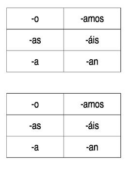 Manipulatives--Spanish verb endings