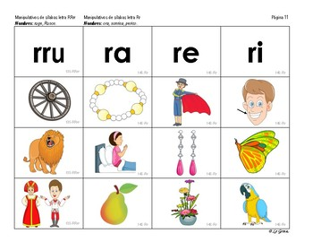 B2 (b) Manipulativos  de Silabas 3 letras RR, R, C-Q, F, Ch, Ñ