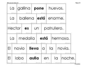 B4 (d) Manipulativos  de oraciones 5 letras H, Ll, Z, Y, X, K-W