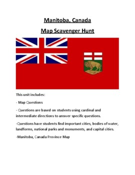 Manitoba, Canada Map Scavenger Hunt