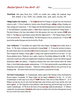 Mankind: The Story of All of Us.  Episode 7: New World.  Movie worksheet.