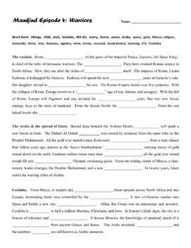 Mankind: The Story of All of Us - Video Worksheets - Episodes 1-4