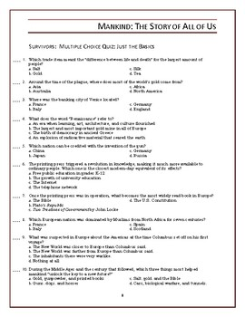 Mankind the Story of All of Us Episode 6 Worksheet and Quiz: Survivors