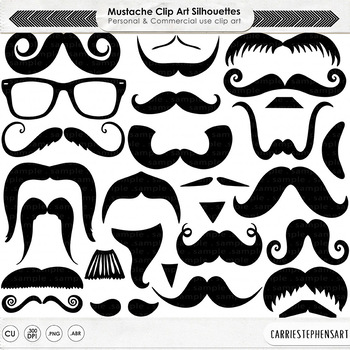Manly Mustache, PNG Digital Stamps + PS Brush, Moustache Line Art & Silhouettes