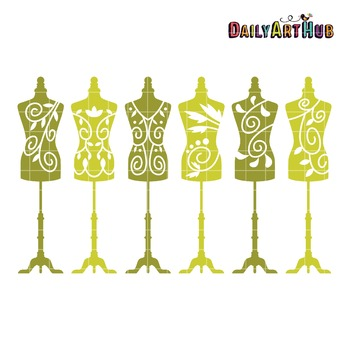 Mannequin Silhouettes Dress Clip Art - Great for Art Class Projects!