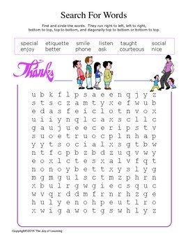 Manners Activity Fun