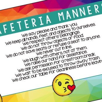 Manners Banner for the Cafeteria