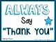 Manners Matter:  Always Say Thank You (Blue) Poster Set 1