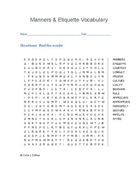 Manners Vocabulary WORD SEARCH