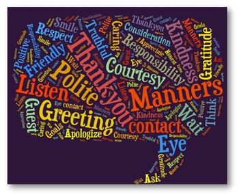 Manners Vocabulary image for Classroom Decoration Poster or Sign