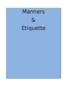 Manners and Etiquette Charades
