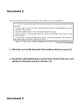 Manor System Manorialism Point of View/Inquiry DBQ Common Core Activity