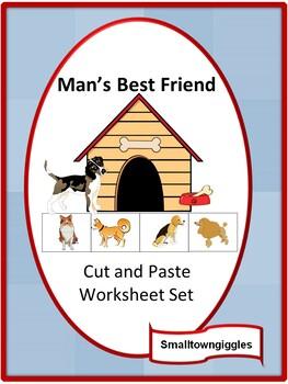 Dogs, Cut and Paste Activities, Special Education. Preschool, Kindergarten