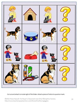 Dogs Math and Literacy Fine Motor File Folder Games for Kindergarten Autism