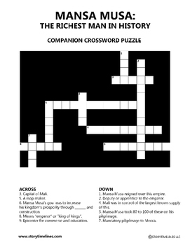 Mansa Musa: The Richest Man In History Companion CrossWord Puzzle