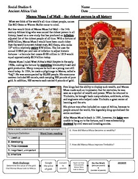 Mansa Musa reading and map