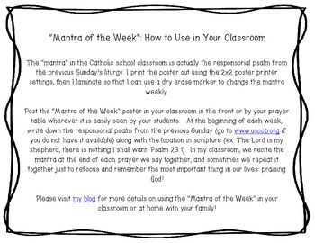 """""""Mantra of the Week"""" Poster for the Catholic Classroom"""