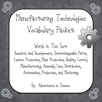 Manufacturing Technologies Vocabulary Packet