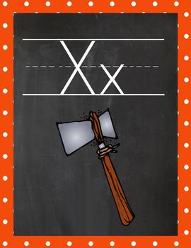 Manuscript Alphabet Cards - Primary Polka Dot theme
