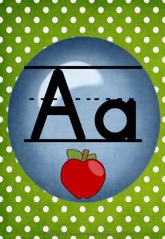 Classroom Alphabet Posters~Manuscript~ Blue Dot on Green Polka Dot Bkgd