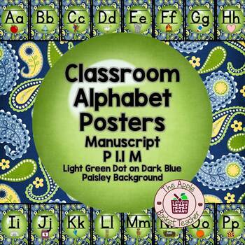 Manuscript Alphabet Line Posters Green Dot~Blue/Yellow/Green Paisley I