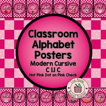 Manuscript Alphabet Line Posters Hot Pink & Black with Pink Checked Background