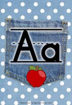 Manuscript Alphabet Line Posters Jean Pocket 1 on Polka Dot Lt Blue
