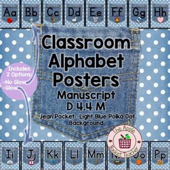 Manuscript Alphabet Line Posters Jean Pocket 1 on Polka Do