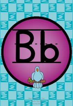 Manuscript Alphabet Line Posters Purple Dot Blue Check Bkgd
