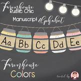 Alphabet Manuscript Mason Jars Farmhouse Colors (Editable)