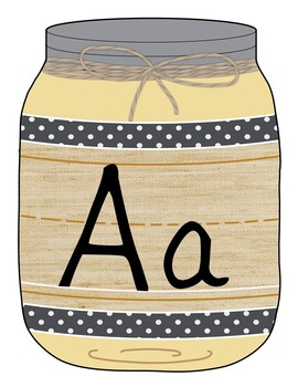 Alphabet Manuscript Mason Jars Farmhouse Colors (Editable)