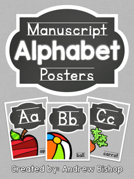 Manuscript Alphabet Posters [Chalkboard & Gray]