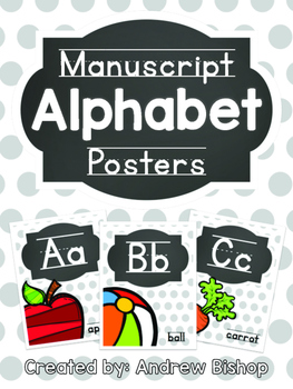 Manuscript Alphabet Posters [Chalkboard & Gray Polka Dot]