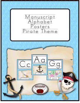 Manuscript Alphabet Posters - Pirate Theme