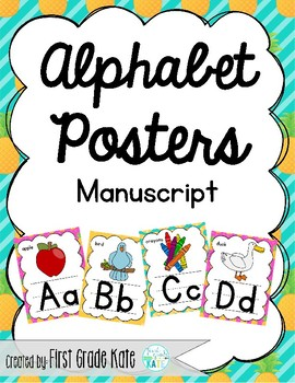 Manuscript Alphabet Posters for Classroom Decor (Pineapples)